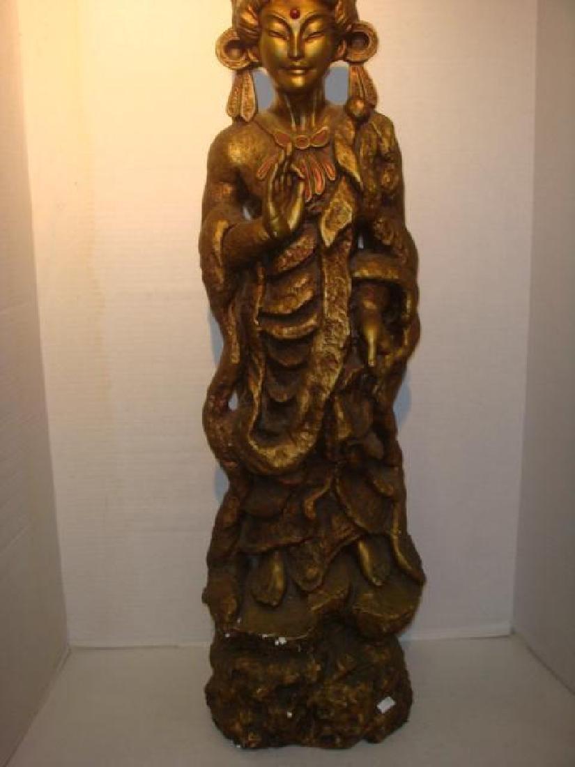 Bodhisattva Guanyin Gilt Statue: - 4