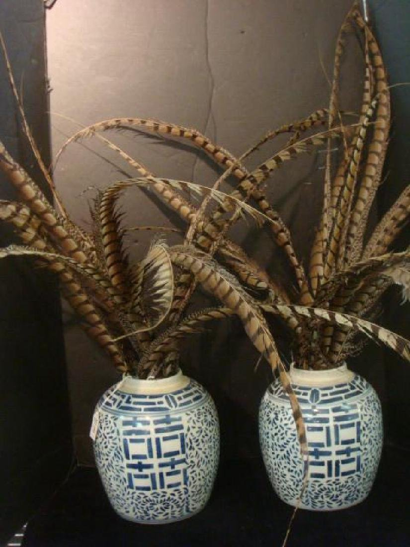 Pair of Blue and White Chinese Ceramic Vases: