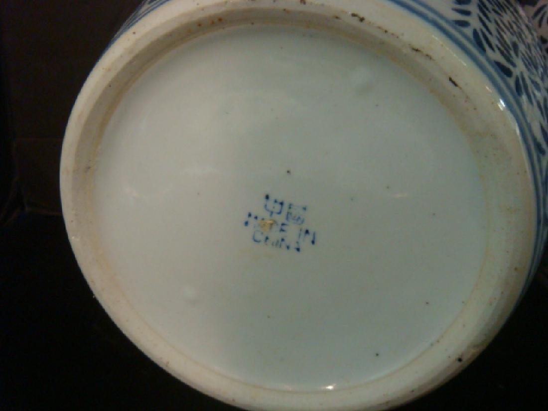Pair of Blue and White Chinese Ceramic Vases: - 3