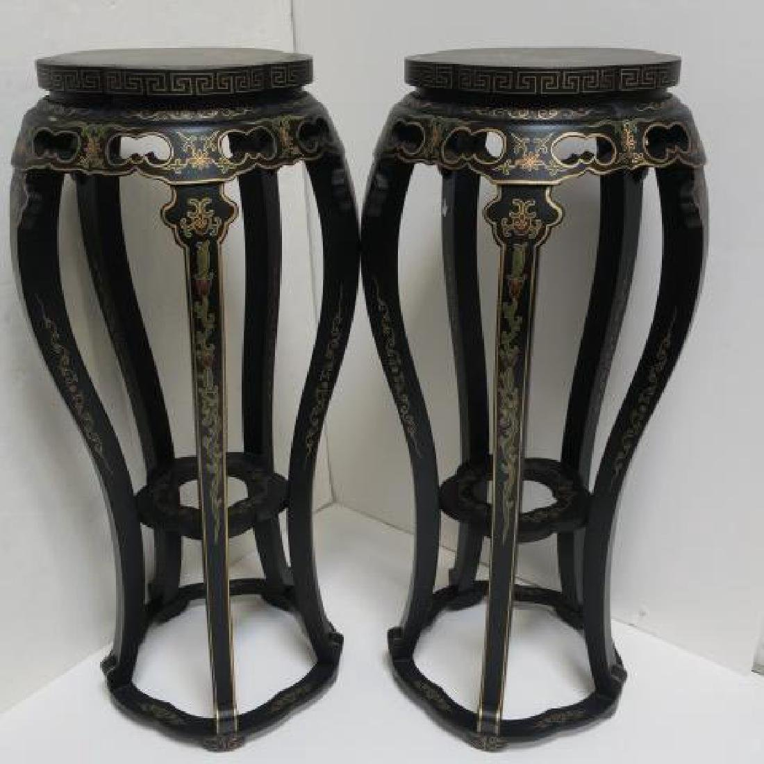Pair of Hand painted Chinese Carved Wood Stands: