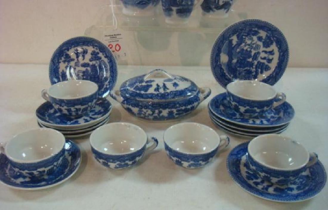 Japan Blue Willow Child's 22 piece Tea set: - 2