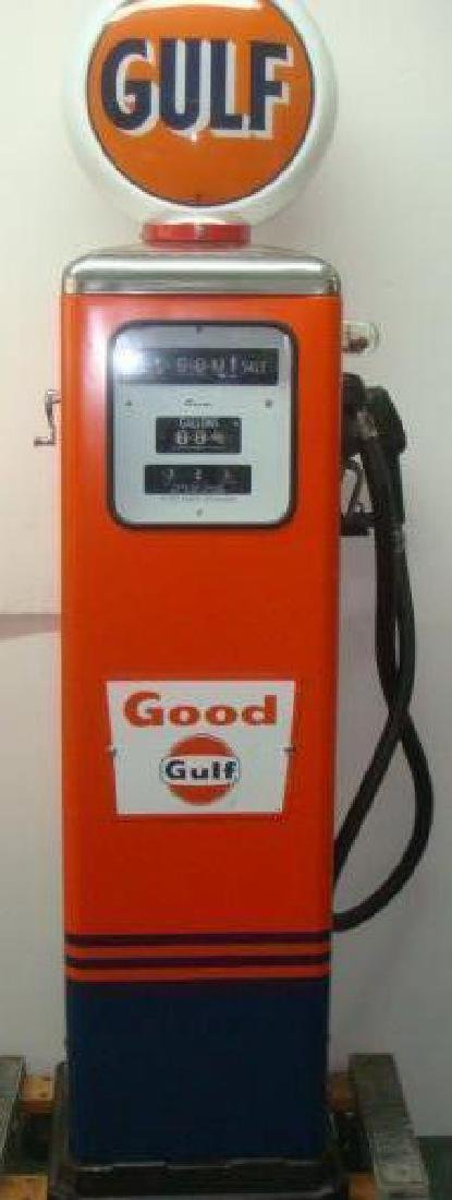 1950's GULF OIL GAS PUMP, Professionally Restored:
