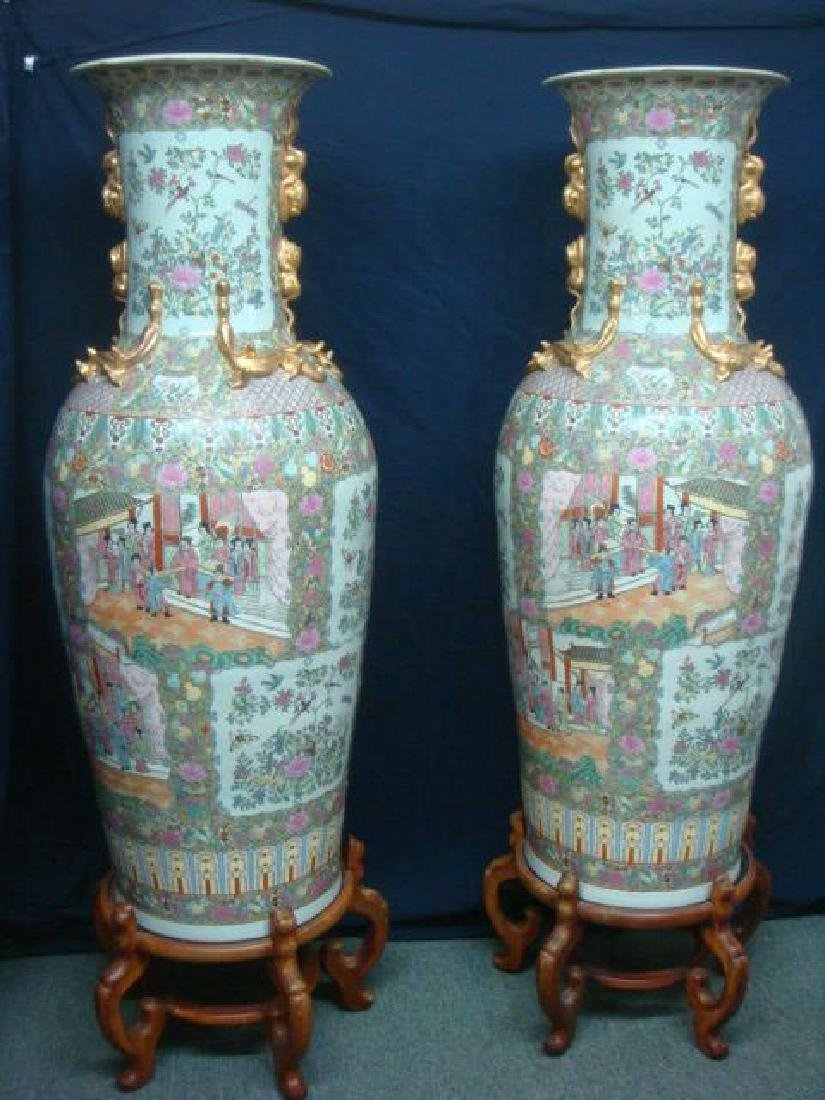 Pair of Monumental Rose Medallion Palace Vases: