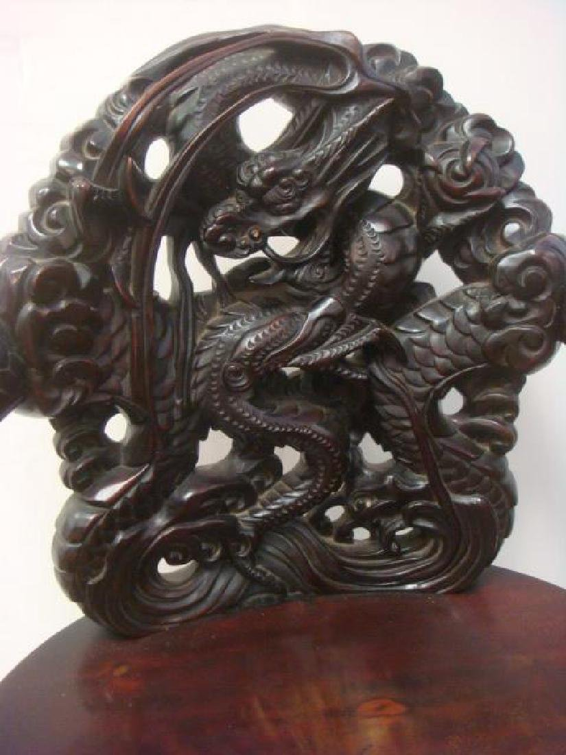 Ornate Deeply Carved Japanese Dragon Throne Arm Chair: - 3