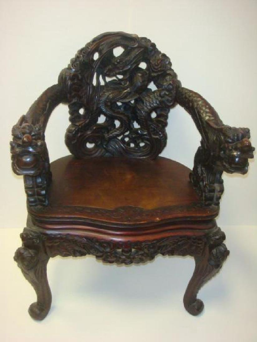 Ornate Deeply Carved Japanese Dragon Throne Arm Chair: - 4