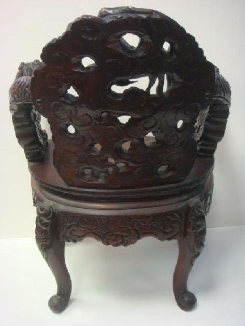 Ornate Deeply Carved Japanese Dragon Throne Arm Chair: - 5