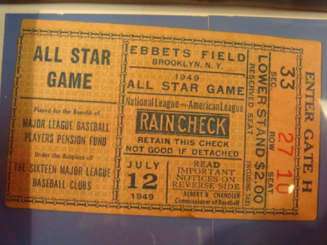 July 12 1949, ALL STAR GAME TICKET STUB, EBBETS FIELD: