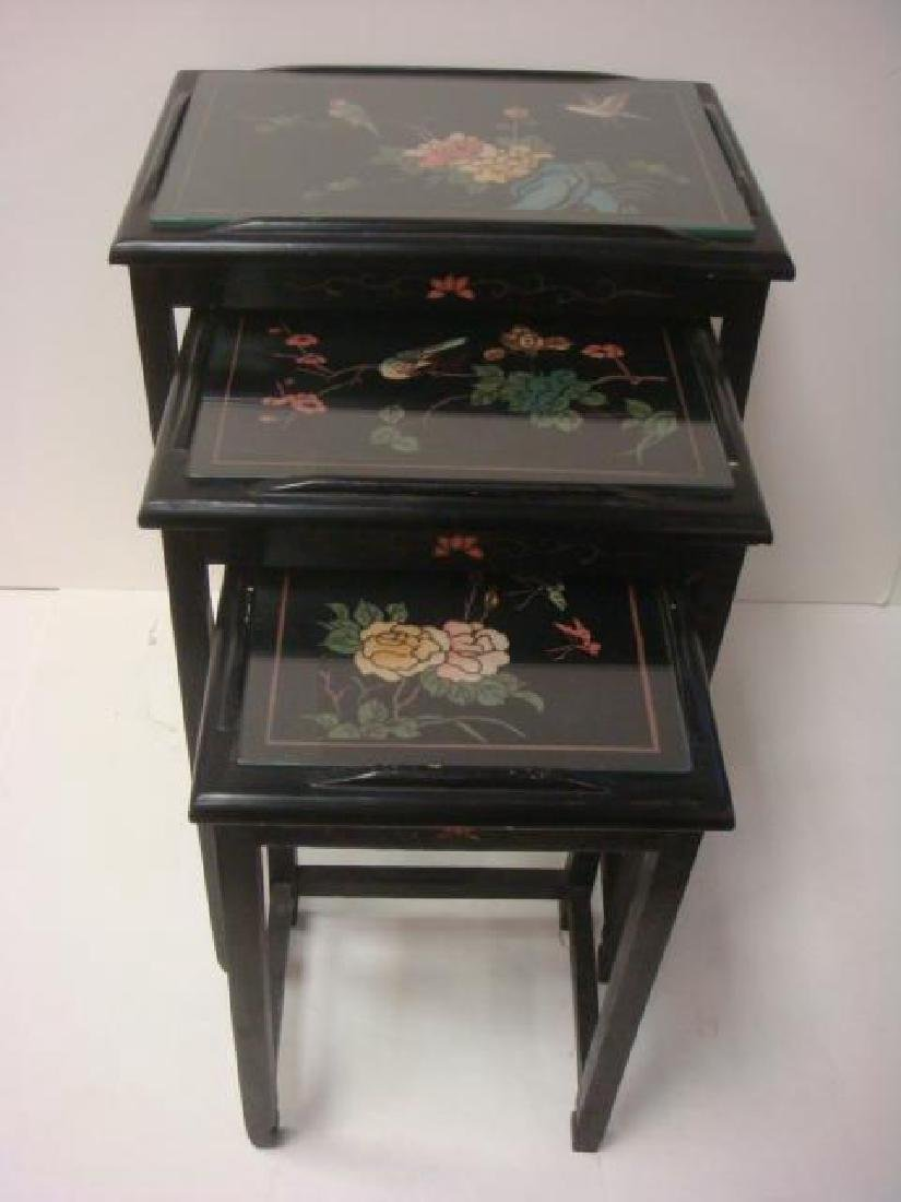Three Floral Carved Asian Nesting Tables: