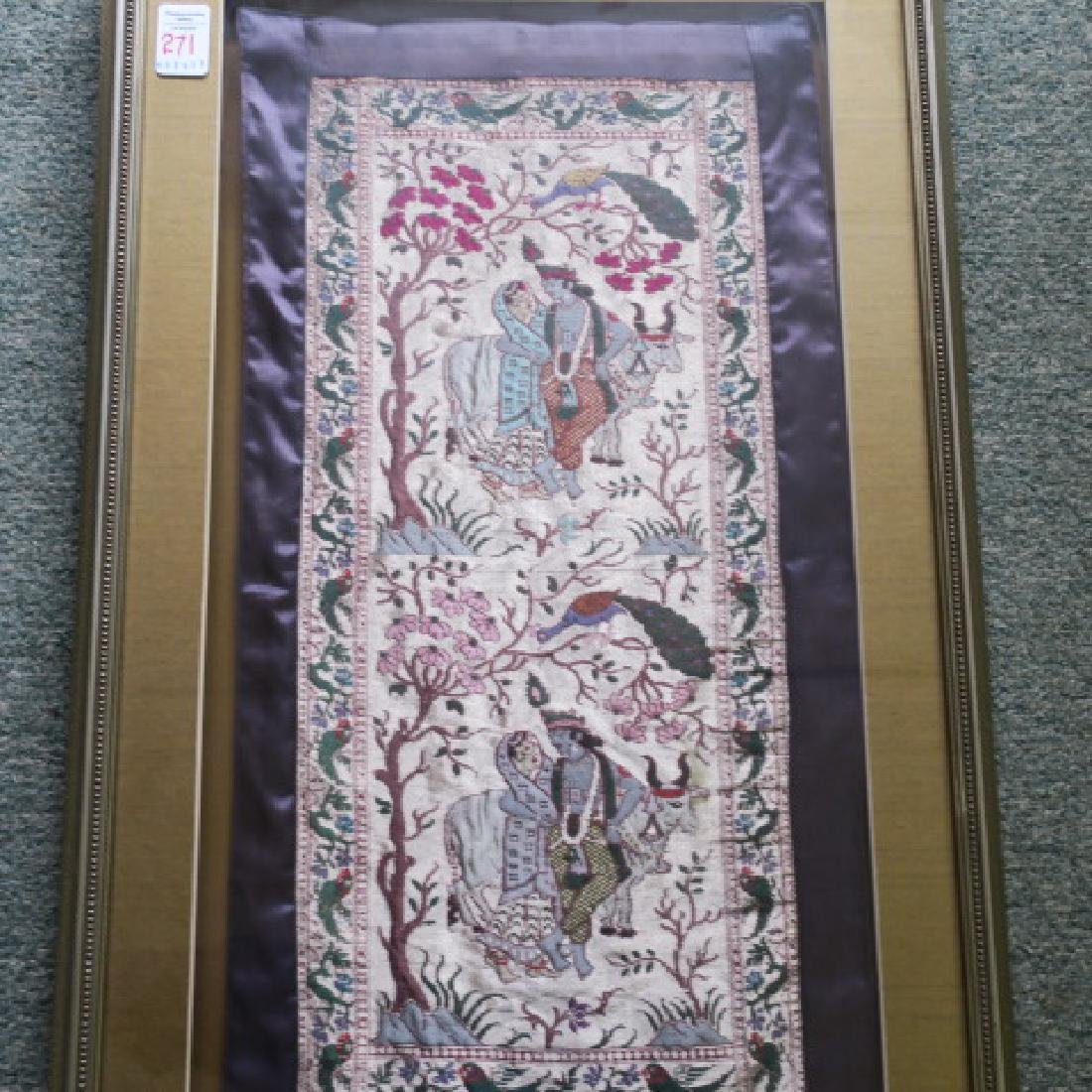 Pictorial Middle Eastern Framed Tapestry: - 4