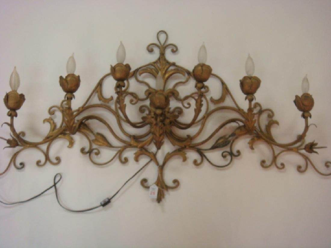 7 Light Electrified Sconce with Flowers & Scrolling:
