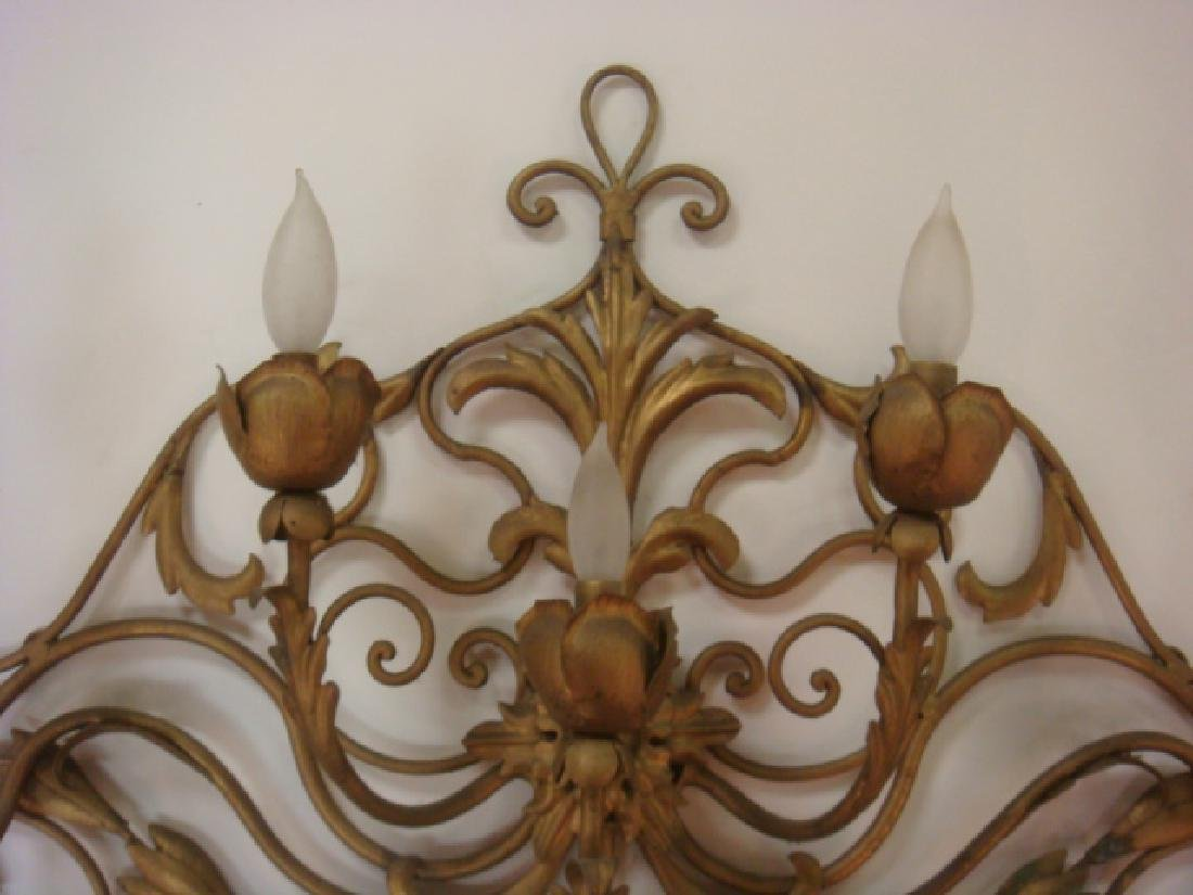 7 Light Electrified Sconce with Flowers & Scrolling: - 2
