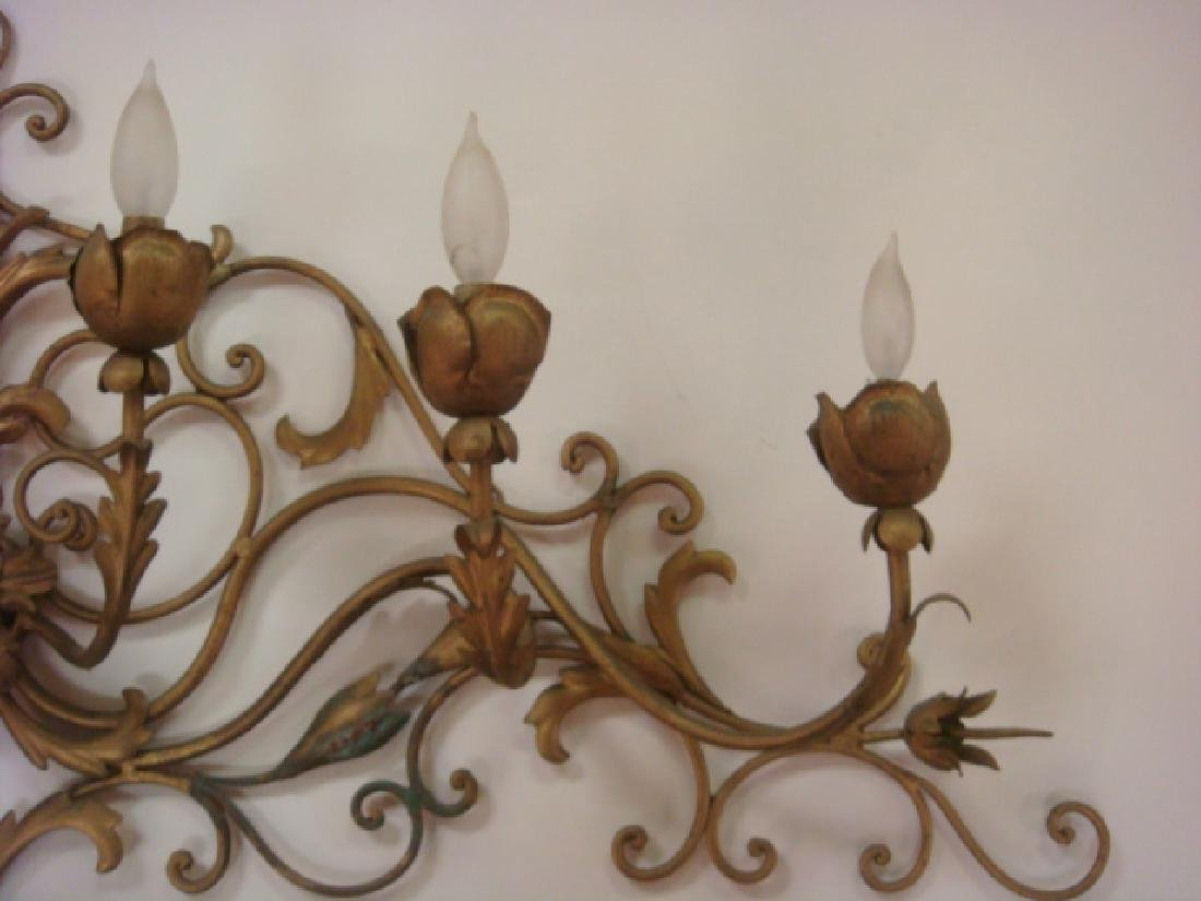 7 Light Electrified Sconce with Flowers & Scrolling: - 3