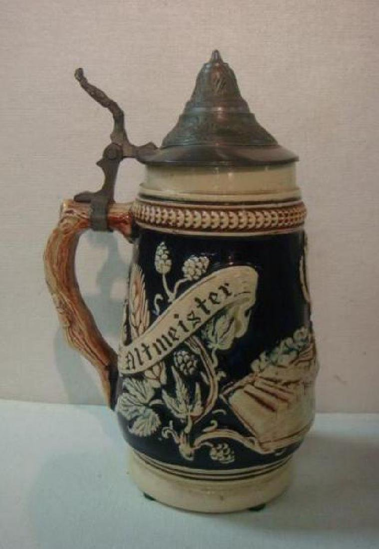 Pewter and Pottery Beer Steins: - 4