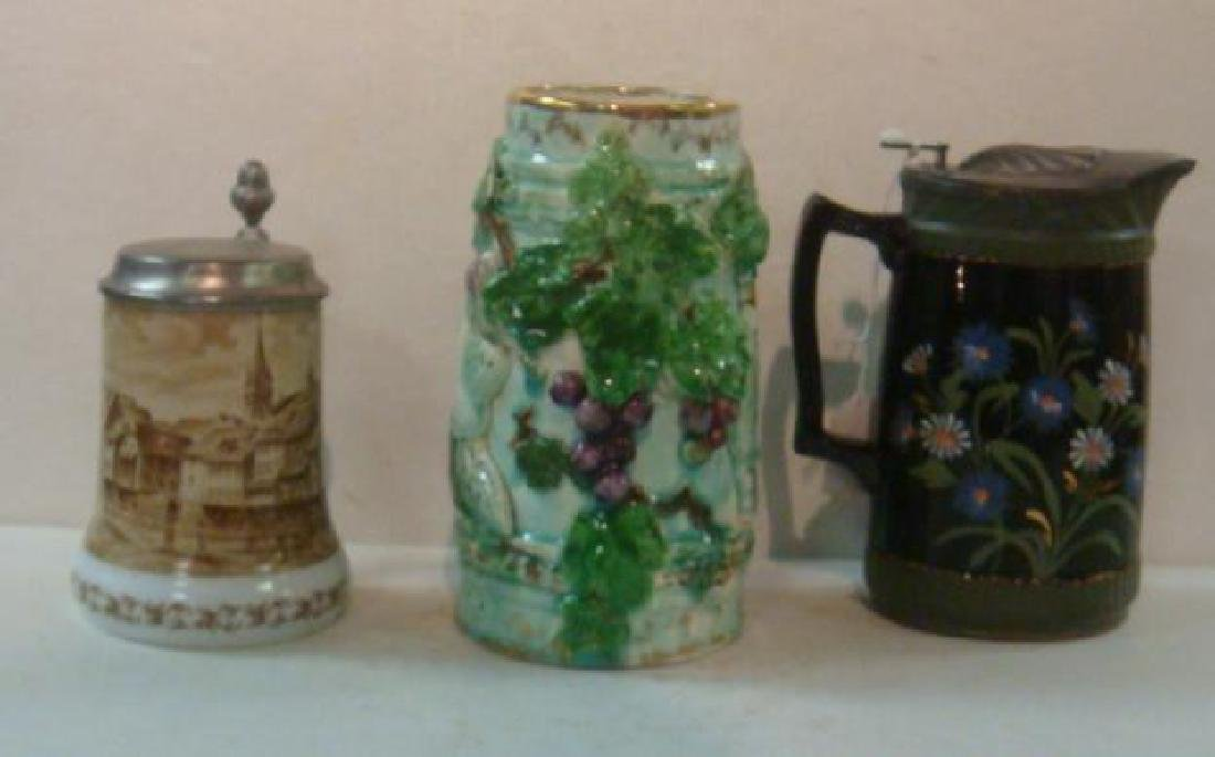 Pottery Syrup Jug, Stein and Majolica Tankard: