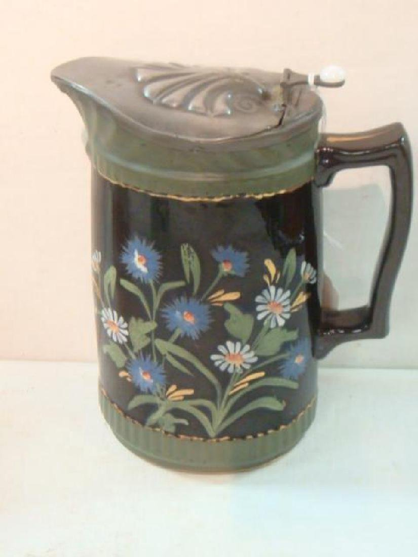 Pottery Syrup Jug, Stein and Majolica Tankard: - 2