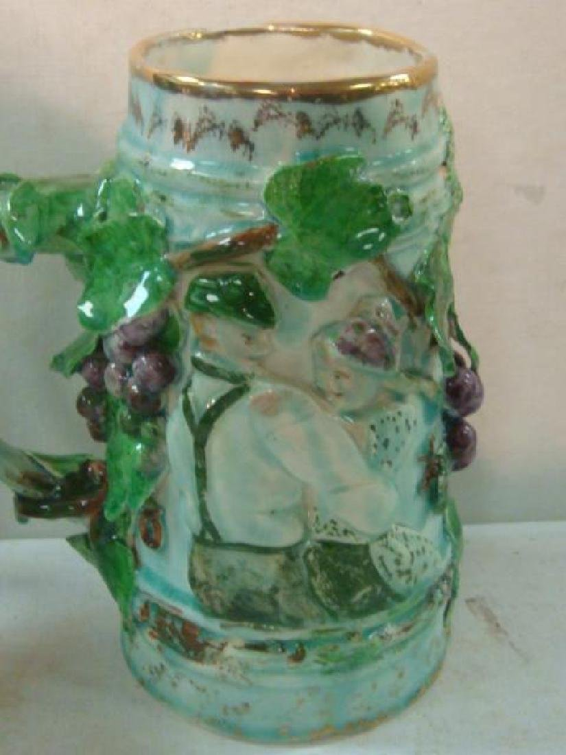 Pottery Syrup Jug, Stein and Majolica Tankard: - 4