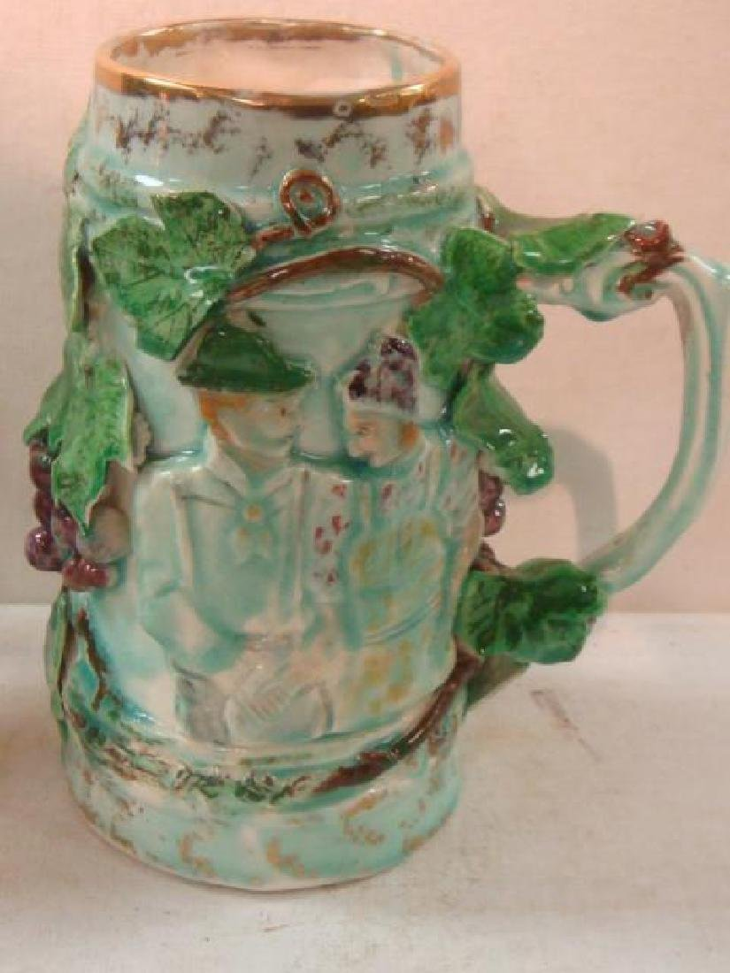 Pottery Syrup Jug, Stein and Majolica Tankard: - 5