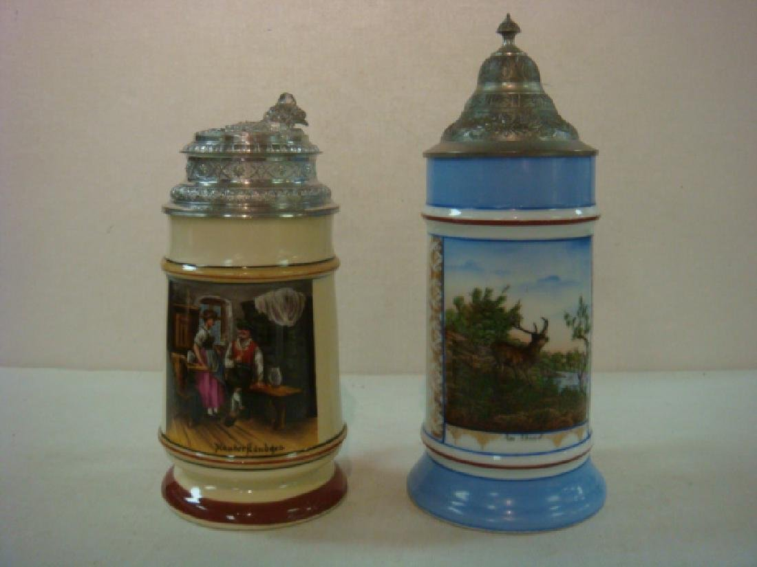 Two Hand painted Porcelain Steins with Lithophanes:
