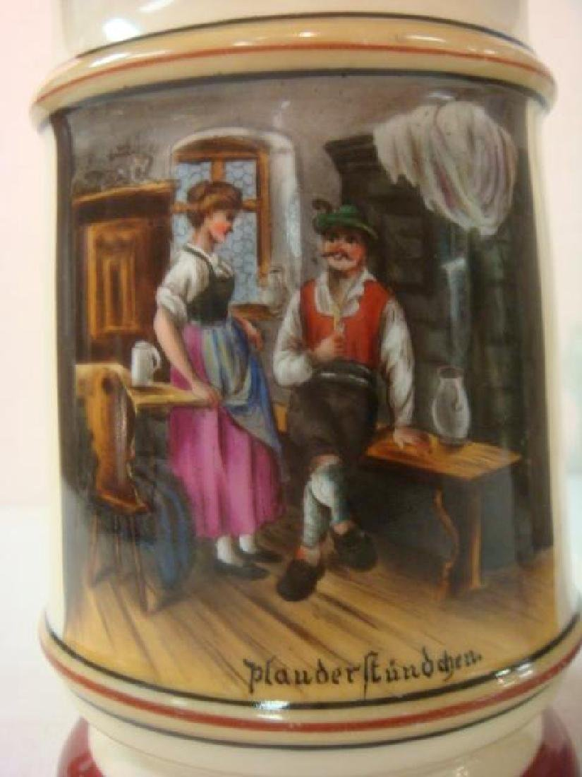 Two Hand painted Porcelain Steins with Lithophanes: - 2