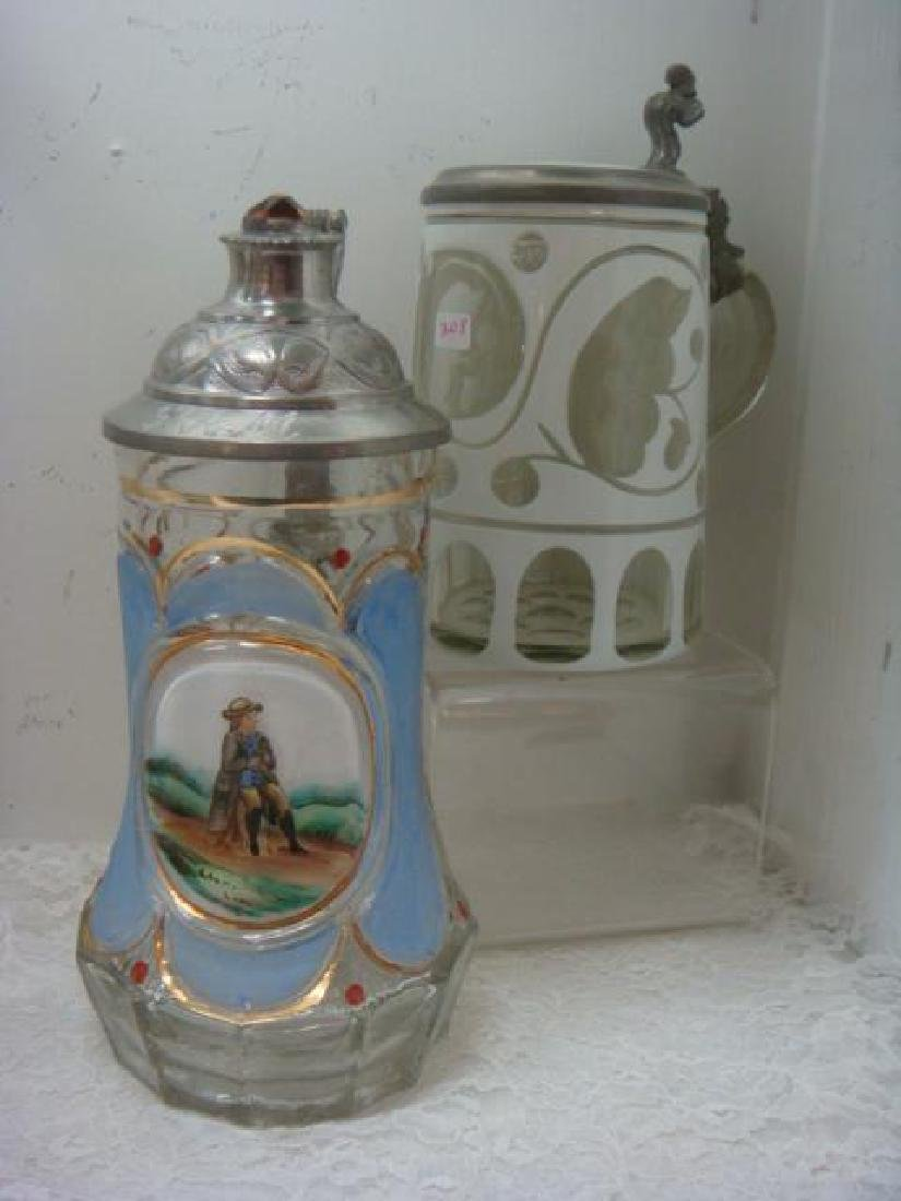 Two Glass Steins, One from 1860: