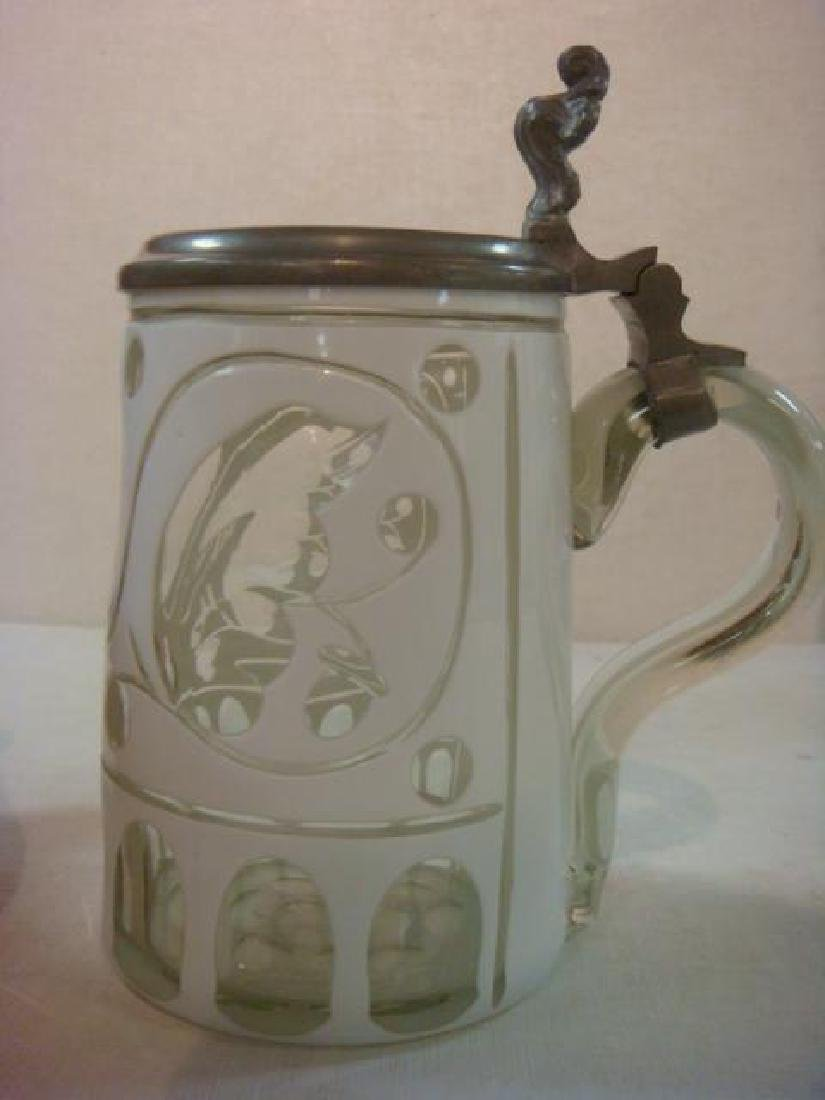 Two Glass Steins, One from 1860: - 6