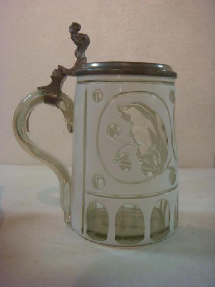 Two Glass Steins, One from 1860: - 7