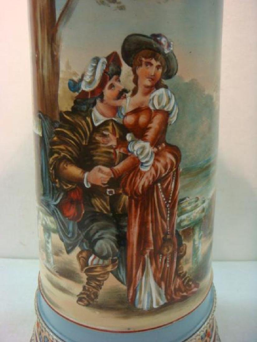 Five Liter Master Stein with Hand painted Lovers: - 2