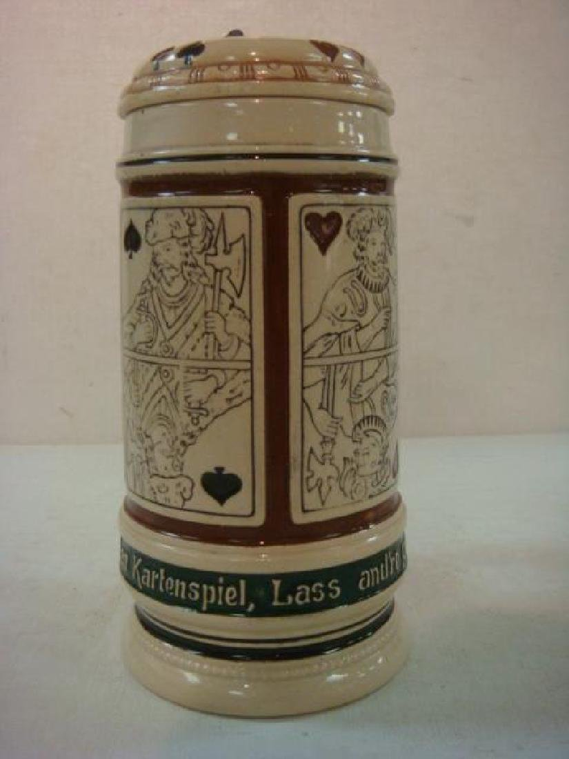 German Stoneware Stein with Playing Cards: