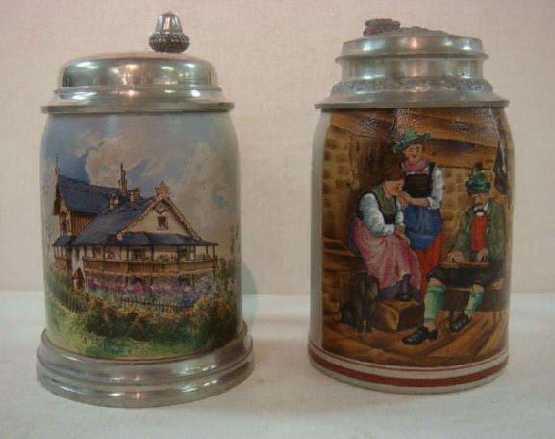 Two Hand Painted .5 Liter Stoneware Steins: