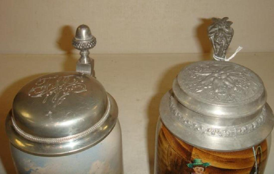 Two Hand Painted .5 Liter Stoneware Steins: - 3