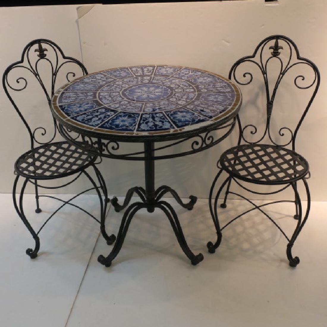 Wrought Iron and Tile Patio Bistro Set:
