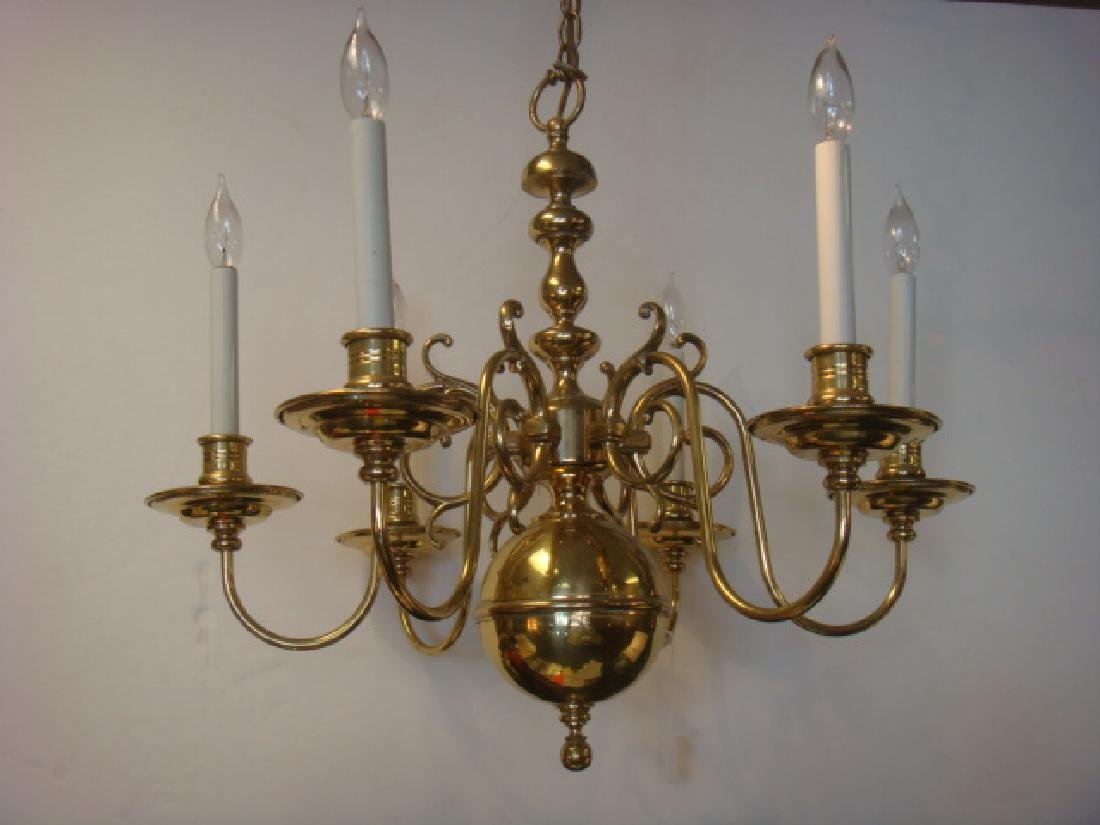 Six Arm Williamsburg Style Colonial Brass Chandelier: