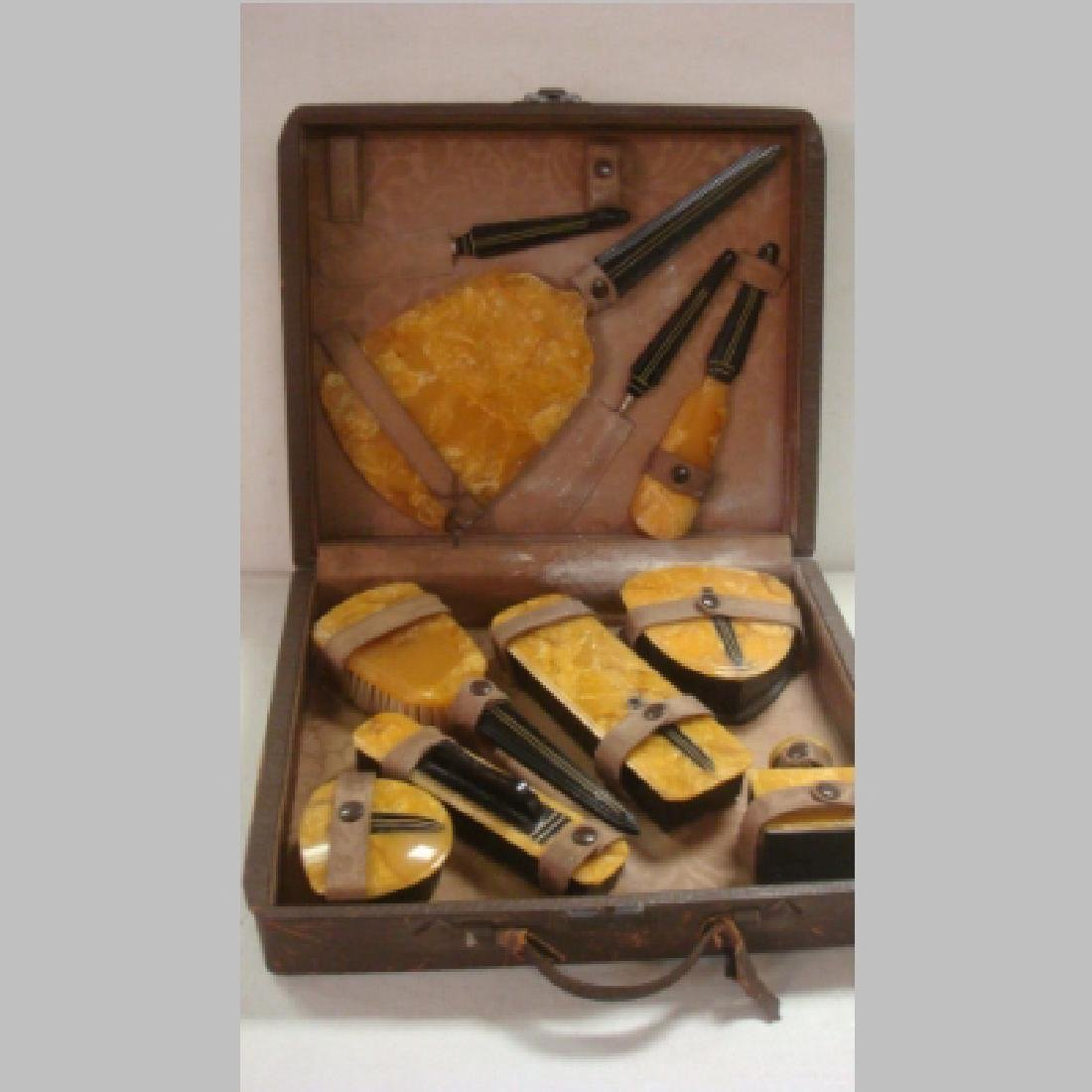 Ten Piece ART DECO Celluloid Vanity Set in Case: