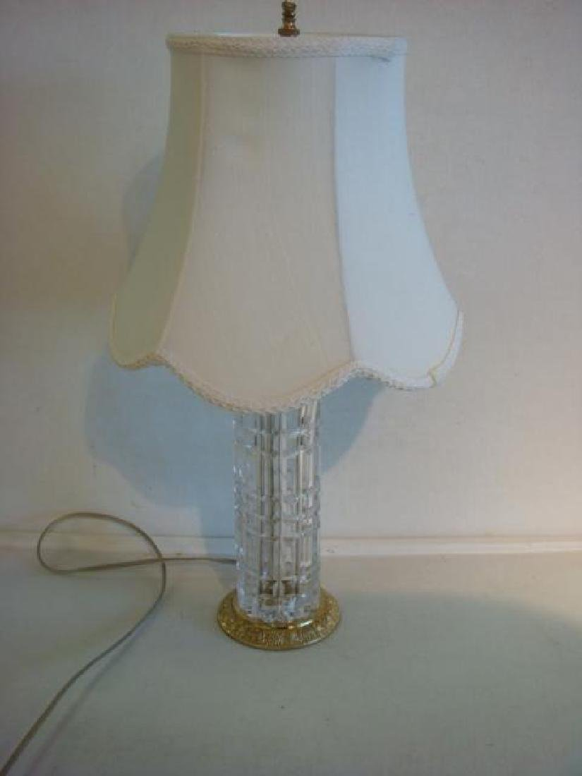 Clear Glass Patterned Column Table Lamp with Shade: