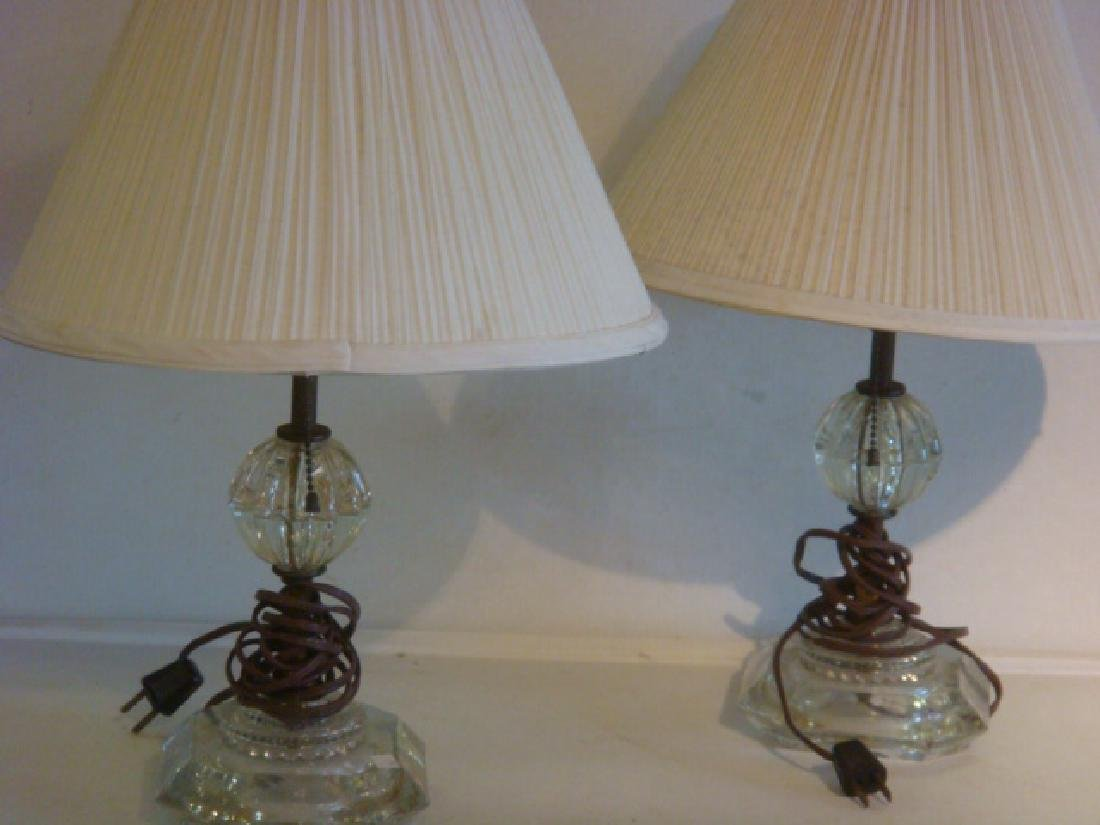 Pair of Clear Glass & Brass Table Lamps with Shades: