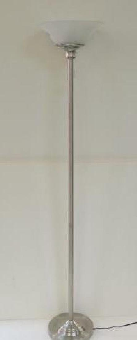 Floor Torchiere Lamp with Frosted Glass Shade: