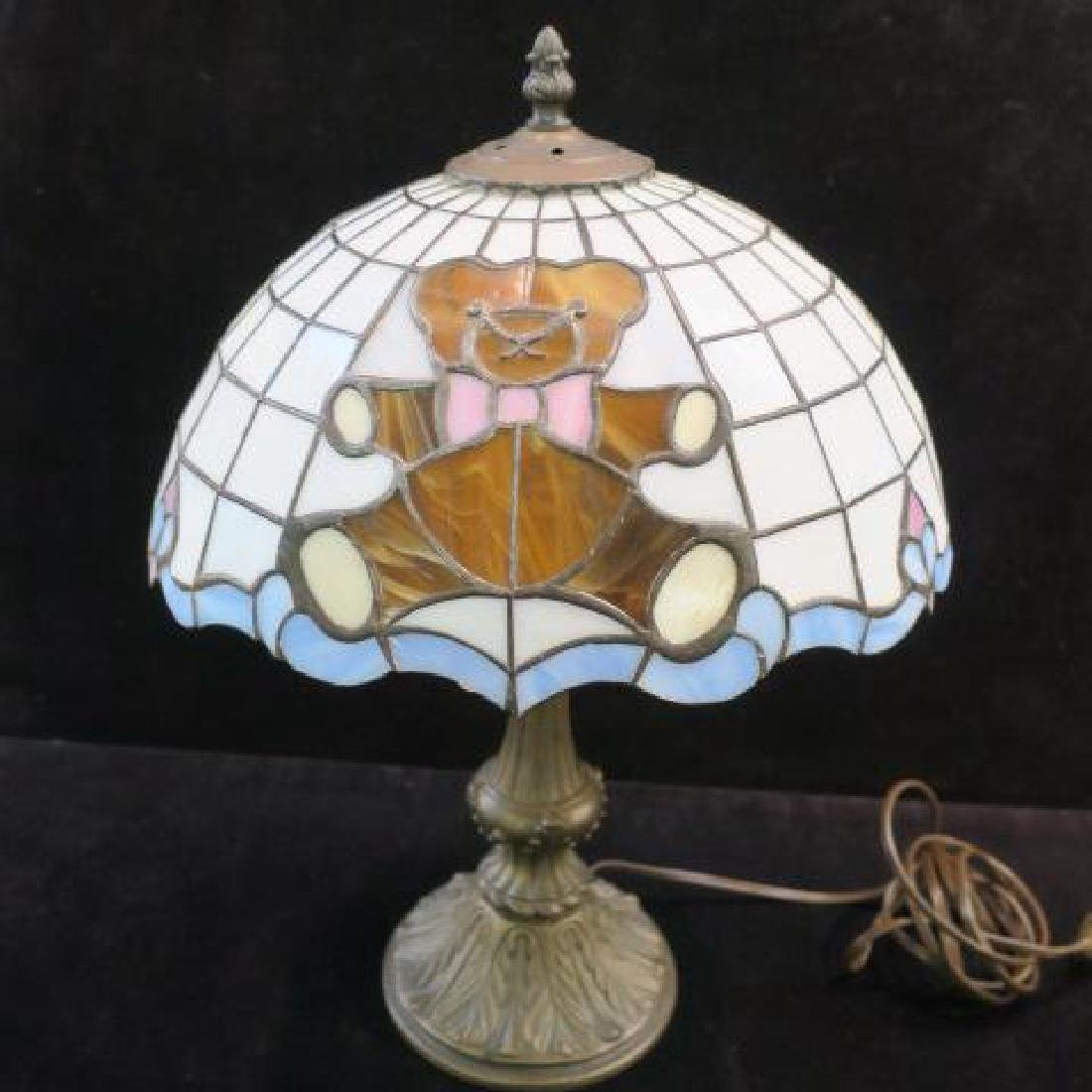 Teddy Bear Leaded Glass Table Lamp: