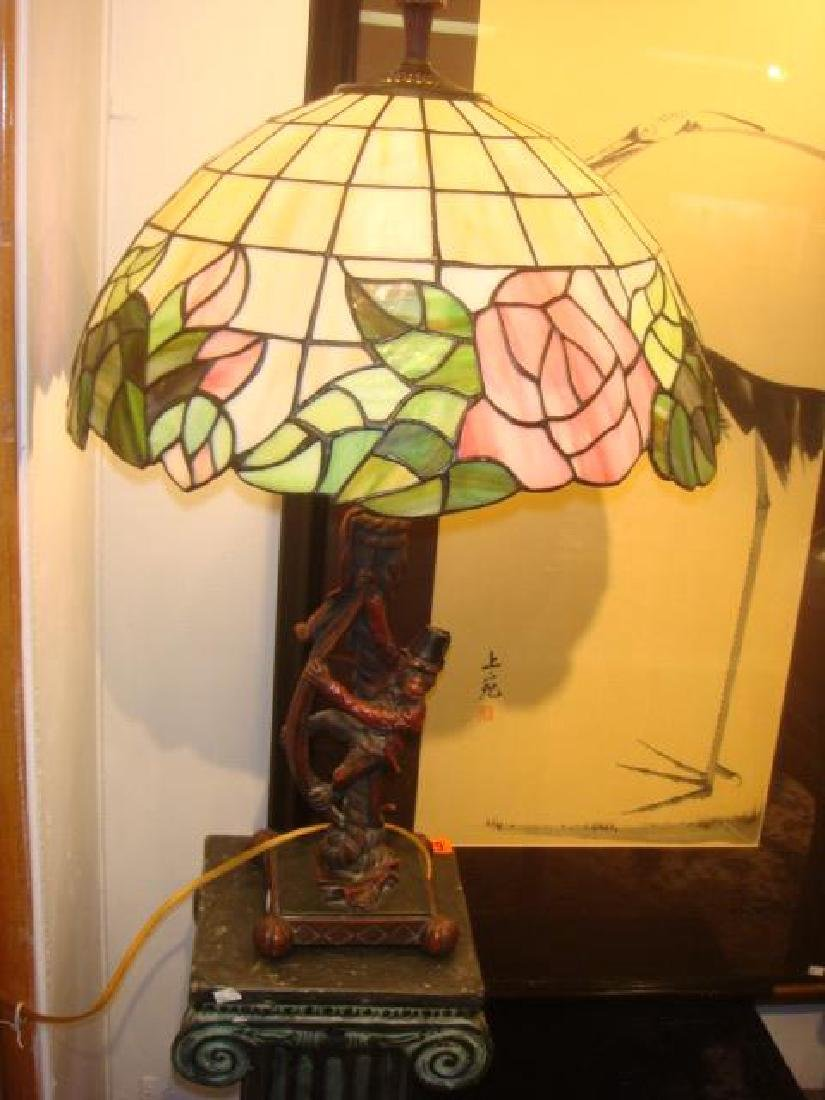 Organ Grinder Monkey Lamp with Stained Glass Shade: