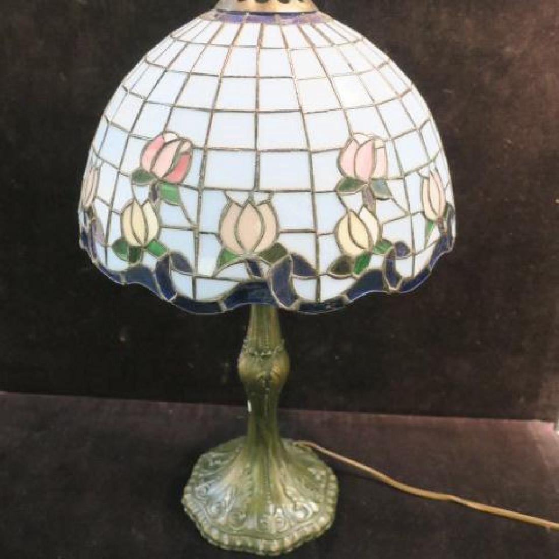Leaded Glass Domical Shade with Bronzed Base