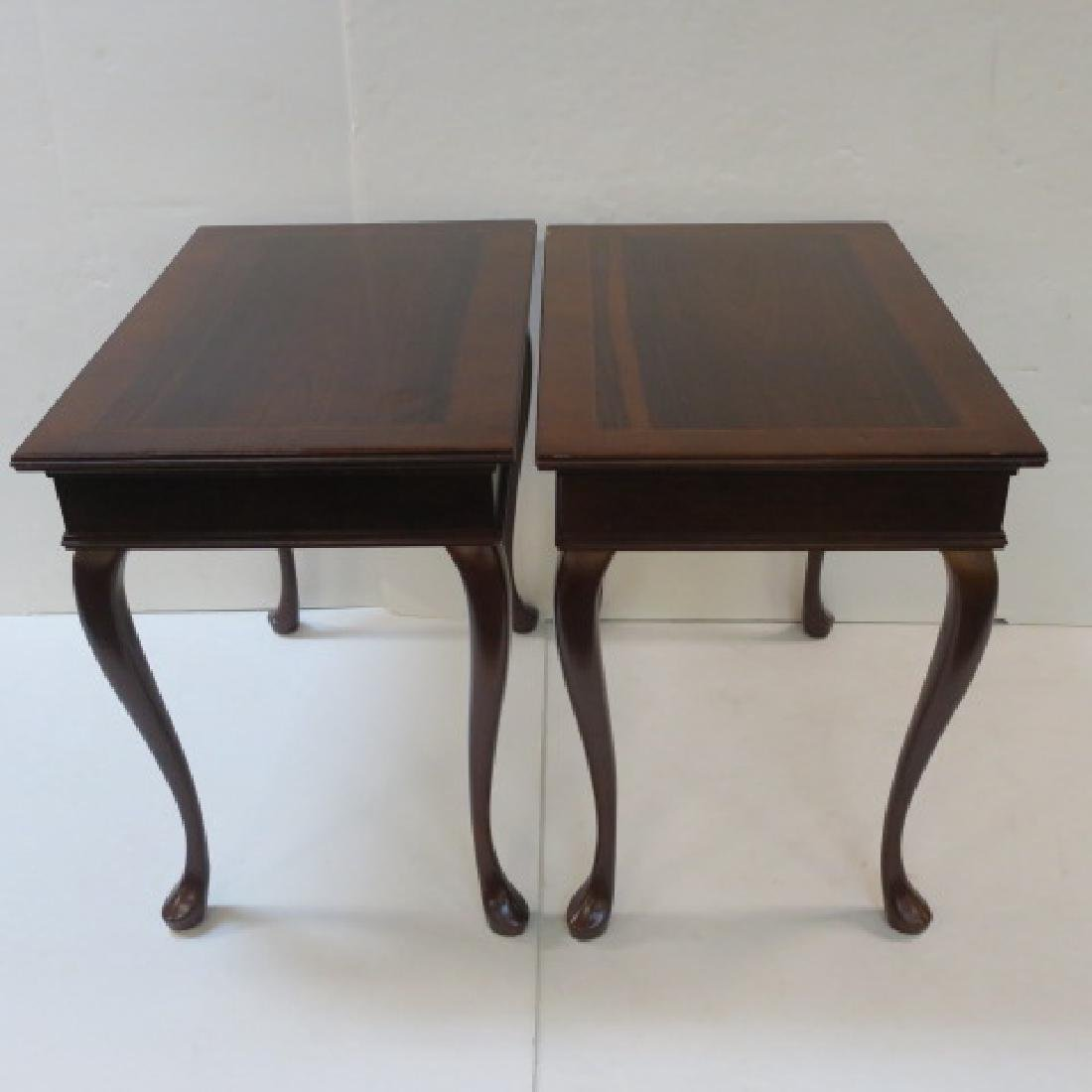 Pair of Queen Anne Rosewood and Mahogany End Tables: