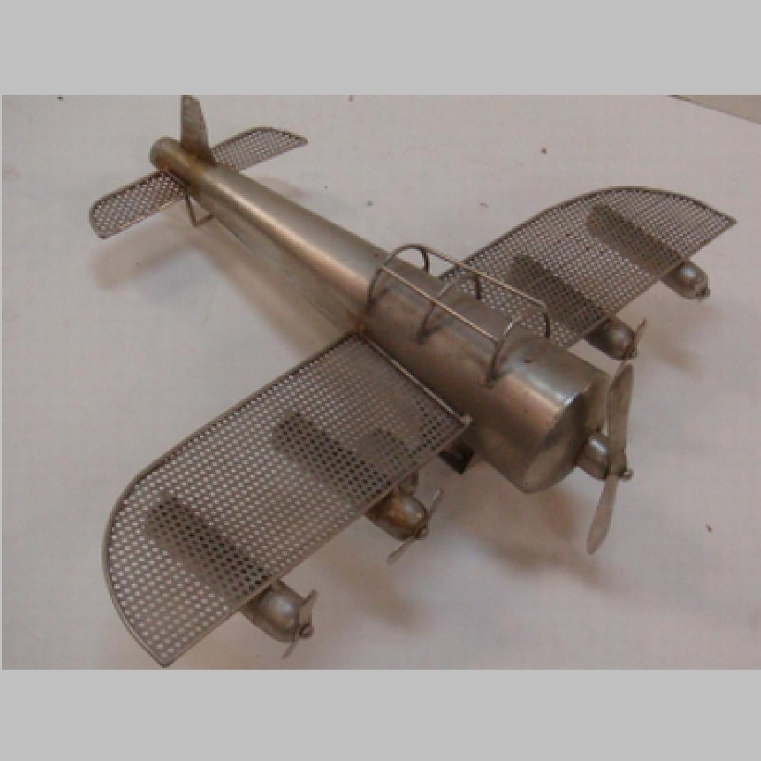 WW II Era Silver Metal Toy Five Engine Bomber: