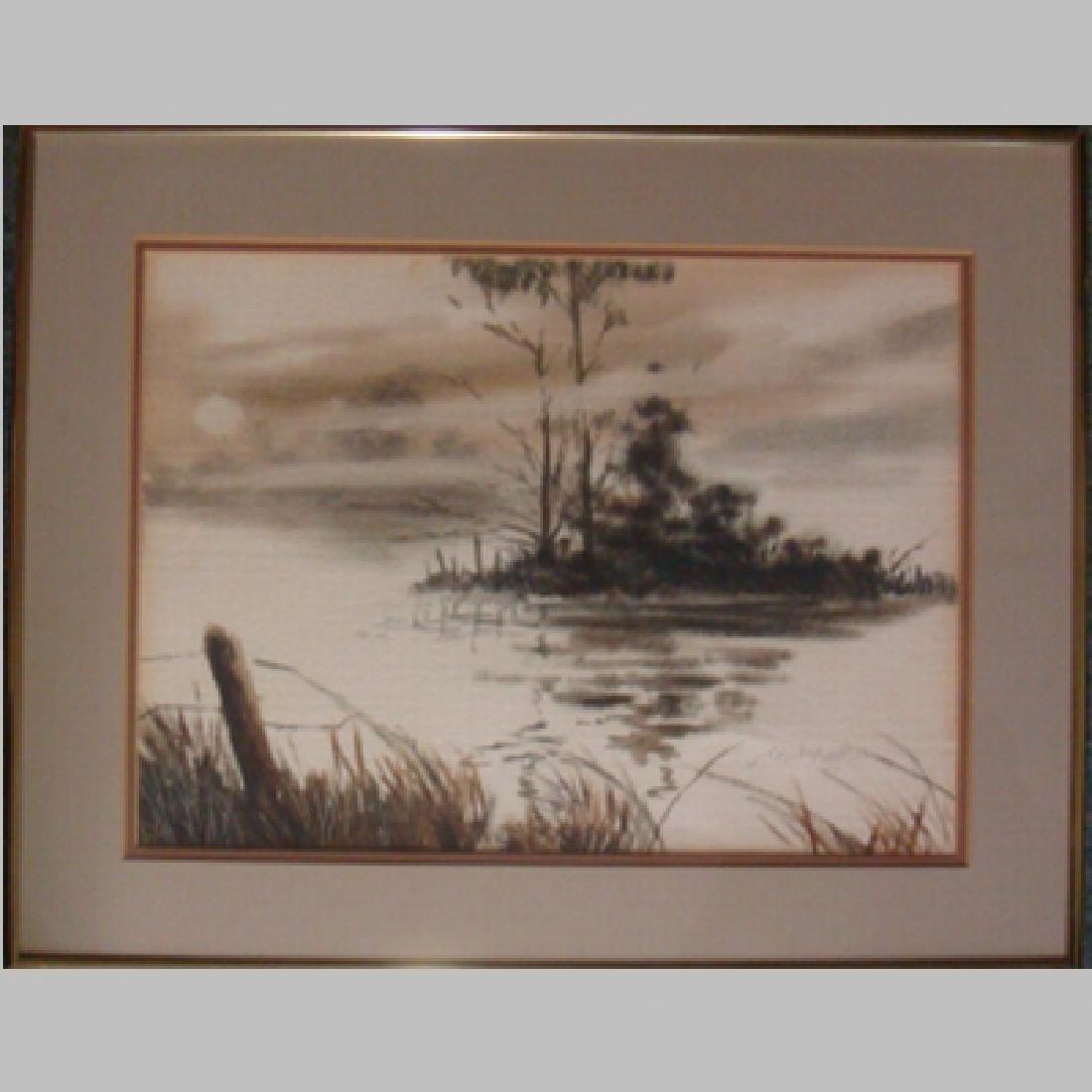 "Watercolor Signed J. DANIEL CHAMBLEE, ""Waterscape"":"