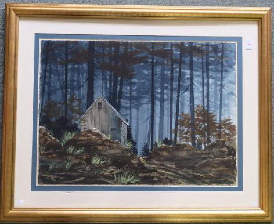J. ROBERT BURNELL Watercolor, House in Forest: