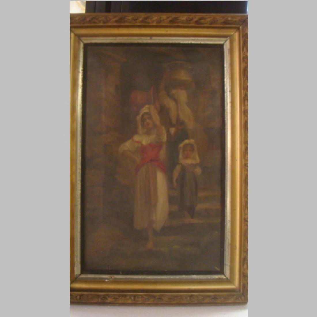 """Antique Oil on Canvas """"The WATER BEARERS"""", 19th Cent:"""