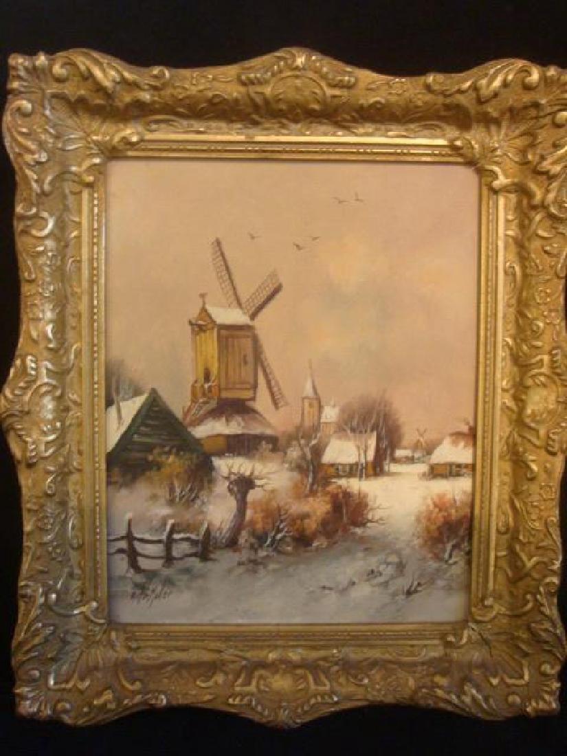 "Oil/Canvas ANTON MULLER, ""DUTCH WINDMILL in WINTER"":"