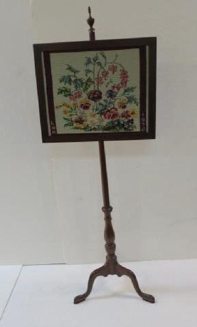 Queen Anne Mahogany Pole Fire Place Screen: