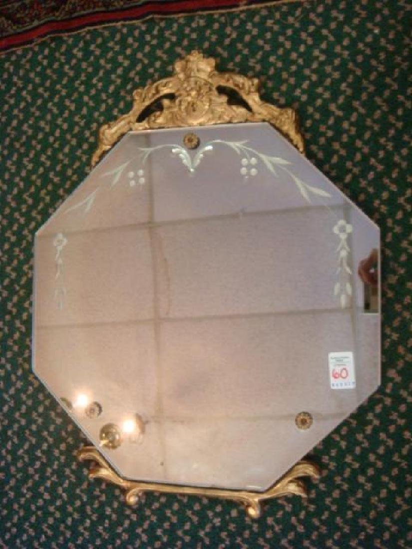 Etched Octagonal Mirror with Gilt Crest: