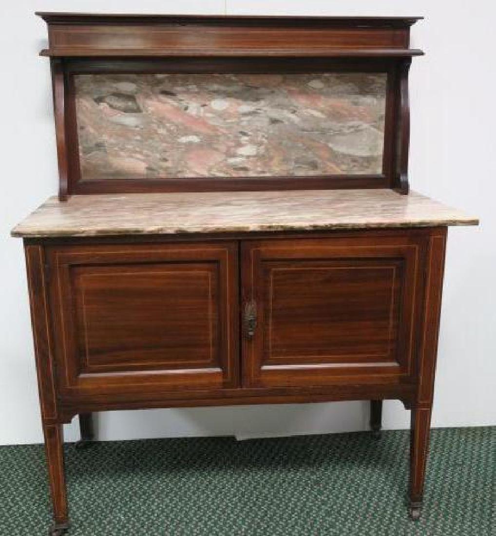 Marble Top Inlaid Mahogany Wash Stand w/Backsplash: