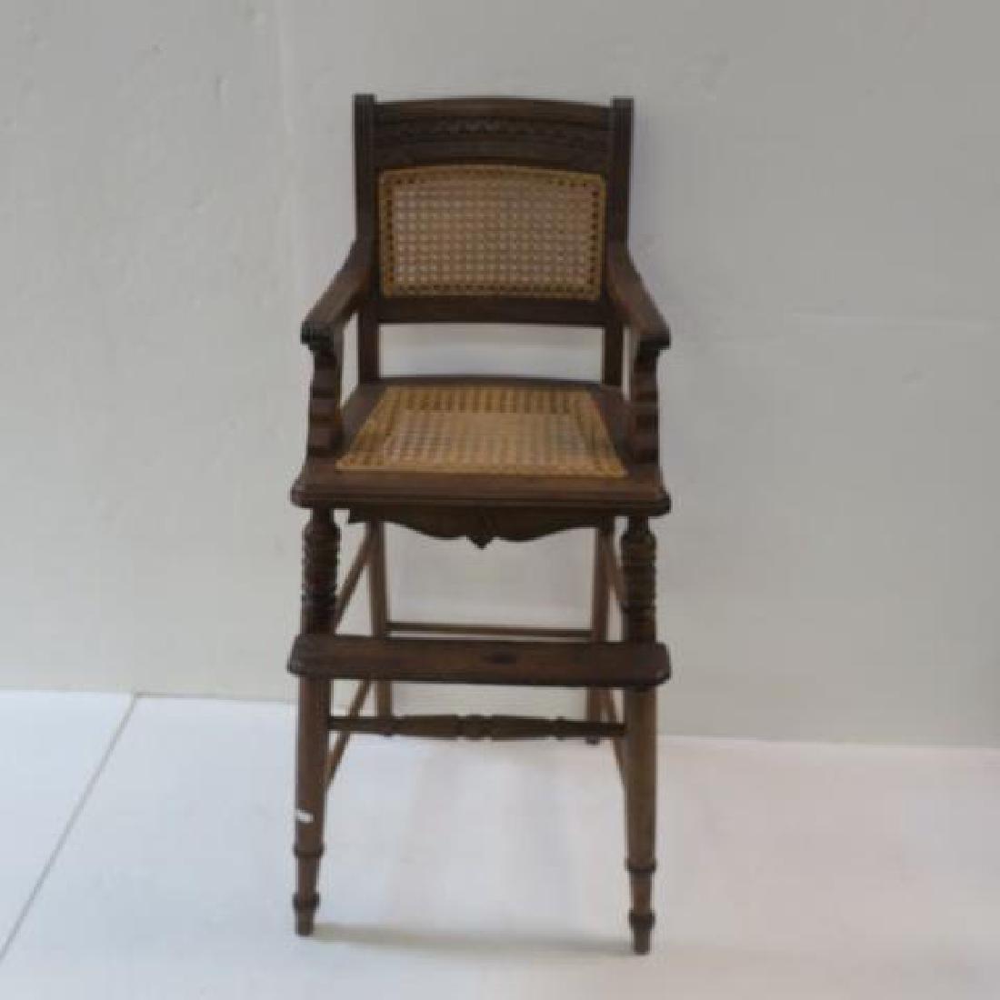 Vintage Eastlake Walnut Childs High Chair: