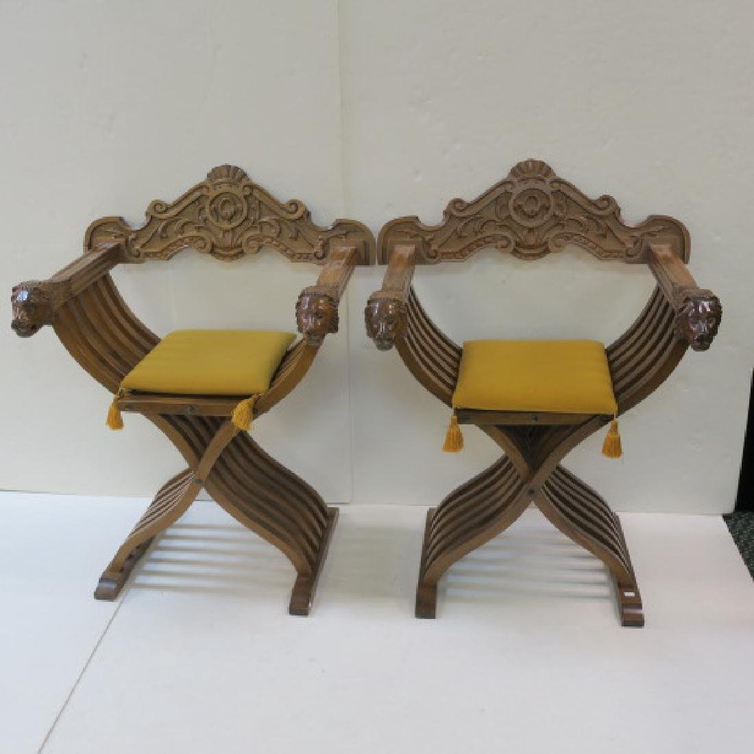 Pair of Italian Renaissance Style Savonarola Chairs: